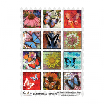 Crafty Individuals A4 Glossy Sheet - 'Butterflies and Flowers'