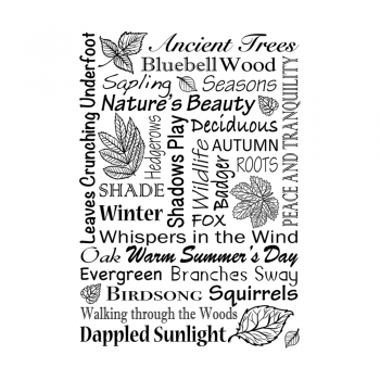 Crafty Individuals CI-487 - 'Woodland Words' Art Rubber Stamp, 70mm x 100mm