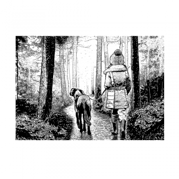 Crafty Individuals CI-489 - 'Winter Walkies' Art Rubber Stamp, 137mm x 96mm