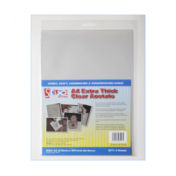 Stix2 Must Haves - 'A4 Extra Thick Clear Acetate Sheets x 4', 210mm x 297mm