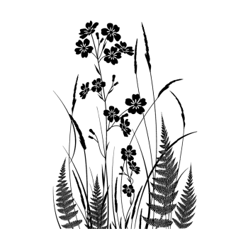 Crafty Individuals CI-493 - 'Wild Flowers and Ferns Silhouette, 68mm x 98mm