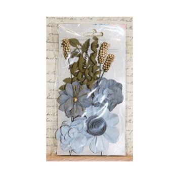 Little Birdie Must Haves - 'Camila Grey Sky Paper Flowers', 16 pcs, up to 60mm