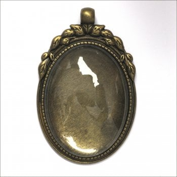 Must Haves - 'Old Gold Oval Jewellery Pendant Setting with Glass', 35mm x 50mm