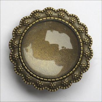 Must Haves - 'Old Gold Brooch Jewellery Round Setting with Glass', 35mm
