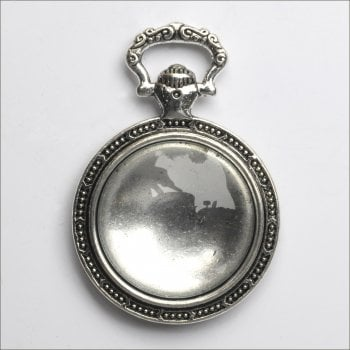 Must Haves - 'Silver Round Jewellery Fob Pendant Setting with Glass', 26mm