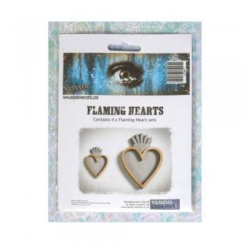 Tando Creative Must Haves - 'Flaming Hearts, by Andy Skinner x 4', up to 40mm x 60mm