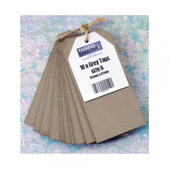 Tando Creative Must Haves - 'Grey Tags x 10, by Tando Creative', 67mm x 134mm