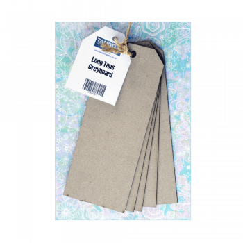 Tando Creative Must Haves - 'Long Grey Tags x 5, by Tando Creative', 75mm x 190mm