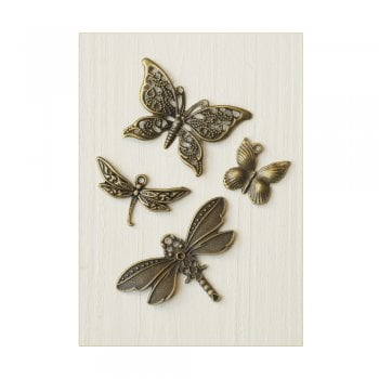 Must Haves - '4 Butterfly and Dragonfly Bronze Gold Charms', up to 45mm x 28mm