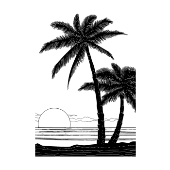 Crafty Individuals CI-497 - 'Tropical Sunset' Art Rubber Stamp, 96mm x 136mm