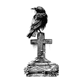 Crafty Individuals CI-500 - 'Gothic Crow' Art Rubber Stamp, 70mm x 137mm