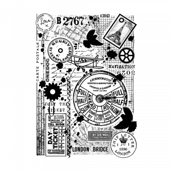 Crafty Individuals CI-499 - 'Full Steam Ahead' Art Rubber Stamp, 96mm x 137mm
