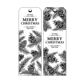 CI-503 - 'Christmas Cones Tags' Art Rubber Stamps, 96mm x 137mm