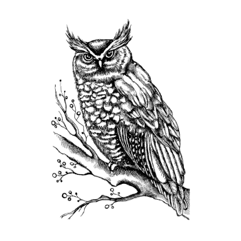 Crafty Individuals CI-511 - 'Owl on Branch with Berries' Art Rubber Stamp, 70mm x 102mm