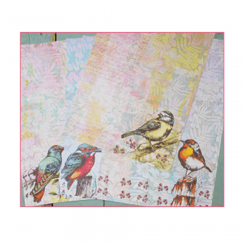 Crafty Individuals Eight A4 Background Paper Sheets - 'Beautiful Birds'