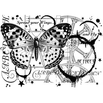 Crafty Individuals CI-517 - 'Fly and be Free' Art Rubber Stamp, 137mm x 96mm