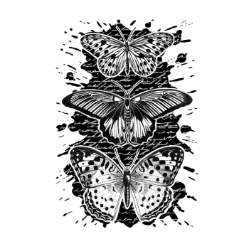 CI-520 - 'Trio of Inky Butterflies' Art Rubber Stamp, 96mm x 137mm