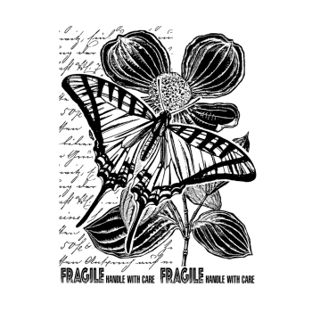 CI-521 - 'Fragile Butterfly' Art Rubber Stamp, 96mm x 137mm