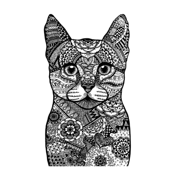 Crafty Individuals CI-523 - 'Happy Cat' Art Rubber Stamp, 80mm x 130mm