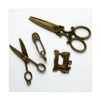 Must Haves - '4 Bronze Gold Sewing Charms', up to 25mm x 60mm