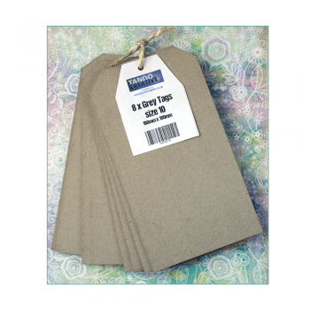 Tando Creative Must Haves - 'Size 10, Grey Tags x 8, by Tando Creative', 100mm x 180mm