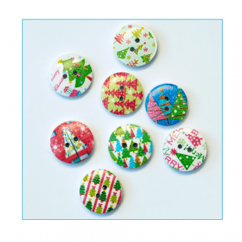Must Haves - 'Wooden Round Christmas Tree Buttons x 8', 20mm x 20mm