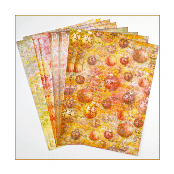 Crafty Individuals Eight A4 Background Paper Sheets - 'Happy Christmas'