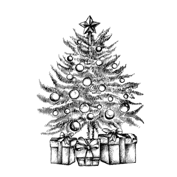 Crafty Individuals CI-527 - 'Little Christmas Tree' Art Rubber Stamp, 68mm x 95mm