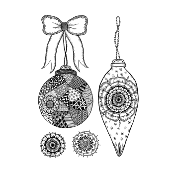 Crafty Individuals CI-532 - 'Baubles and Bow' Art Rubber Stamps, 96mm x 137mm