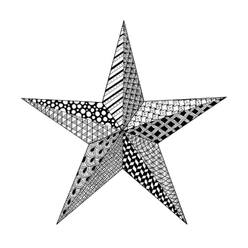 Crafty Individuals CI-533 - 'Zentangle Star' Art Rubber Stamp, 100mm x 100mm