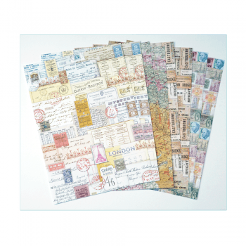 Crafty Individuals Eight A4 Background Paper Sheets - 'Ticket to Ride'