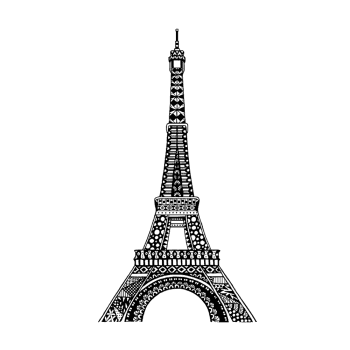 Crafty Individuals CI-538 - 'Eiffel Tower' Art Rubber Stamp, 72mm x 135mm