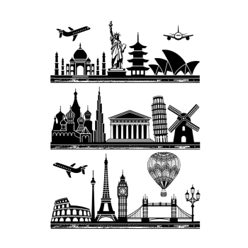 CI-537 - 'Icons of the World' Elements Art Rubber Stamps, 96mm x 137mm