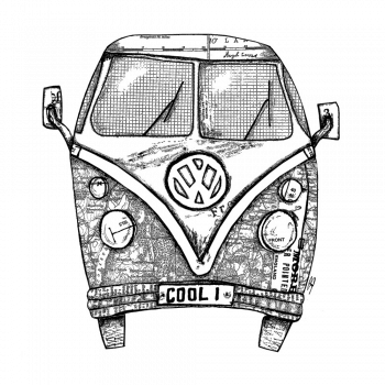 Crafty Individuals CI-546 - 'Camper Van COOL 1' Art Rubber Stamp, 96mm x 102mm