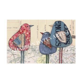 '3 Birds', A4 Size Print by Sharron Bates