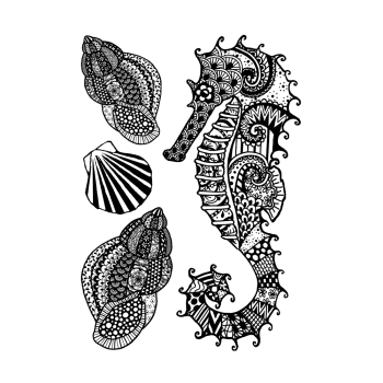 Crafty Individuals CI-549 - 'Seahorse with Shells' Art Rubber Stamp, 96mm x 137mm