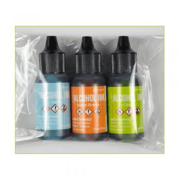 Ranger Must Haves - 'Trio of Ranger Alcohol Inks, Aqua, Sunset Orange and Citrus, Set 1'