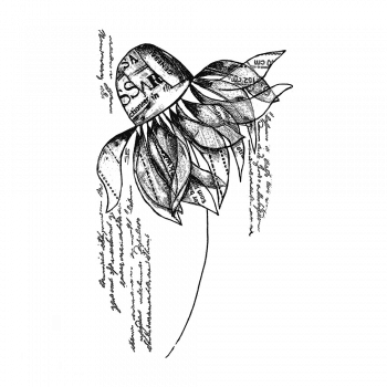 Crafty Individuals CI-560 - 'Flower' Art Rubber Stamp, 65mm x 108mm