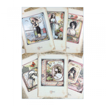 Crafty Individuals A4 Satin Printed Sheets, 6 designs x 2 of each - 'Vintage Delights'