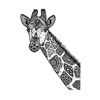 Crafty Individuals CI-564 - 'Happy Giraffe' Art Rubber Stamp, 96mm x 131mm