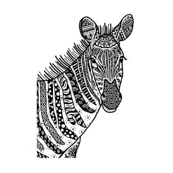 Crafty Individuals CI-566 - 'Happy Zebra' Art Rubber Stamp, 92mm x 137mm
