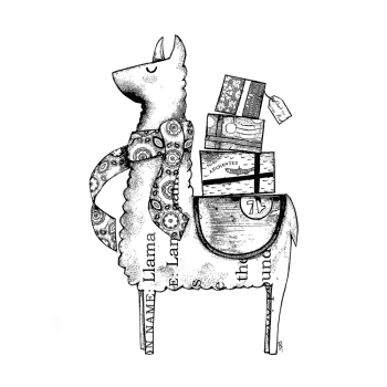 Crafty Individuals CI-567 - 'Luigi the Llama' Art Rubber Stamp, 91mm x 137mm