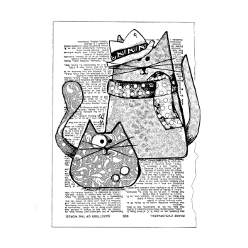 Crafty Individuals CI-568 - 'Trilby Cats' Art Rubber Stamp, 96mm x 133mm