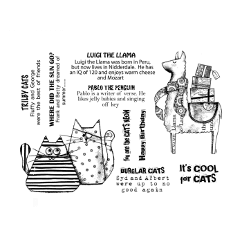Crafty Individuals CI-570 - 'It's Cool for Cats' Art Rubber Stamp, 137mm x 96mm