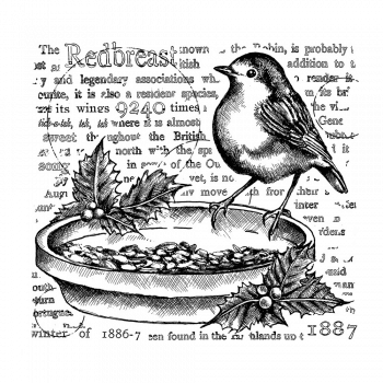 Crafty Individuals CI-575 - 'The Redbreast' Art Rubber Stamp, 95mm x 86mm