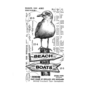 Crafty Individuals CI-576 - 'Counting Seagulls' Art Rubber Stamp, 64mm x 118mm
