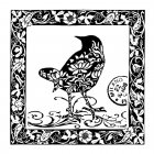 CI-179 - 'Milano Bird' Art Rubber Stamp, 75mm x 75mm