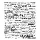 CI-258 - 'Uplifting Words' Art Rubber Stamp, 85mm x 100mm