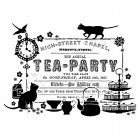 CI-269 - 'Tea Party Ticket' Art Rubber Stamp, 95mm x 70mm