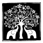 CI-321 - 'The Elephant Tree' Art Rubber Stamp, 85mm x 85mm